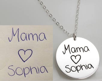 "19mm (3/4"") Sterling Silver Actual Handwriting Disc Necklace, Signature Necklace, Handwritten Necklace, Memorial Necklace"