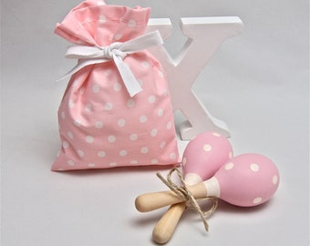 Pink & White Polka Dots Baby Rattle, Baby Toy, Baby Maraca, Wooden Toy