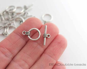 Toggle Clasps Silver Tone Pack of 10 sets, Findings for Jewellery Making, 11mm, Small Clasps for Jewelry