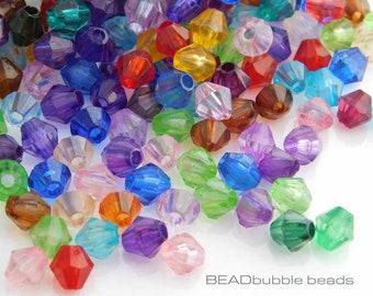 60 Würfel 4mm Acryl Perlen Bunt gemischt Viereck AB Farbe Beads 1896
