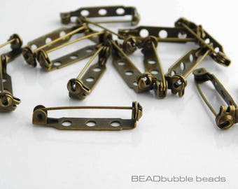 Antique Bronze Tone Jewelry Charms Butterfly Safety Pins Brooch Crafting Making