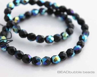 6mm Jet Black AB Czech Fire Polished Glass Beads x 50, Jewelry Making Supplies (CZB604)