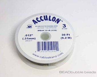 """Acculon Beading Wire Clear 3 Strand .012"""" (0.31mm), 30ft spool, Wire for Jewellery Making (TTL030)"""