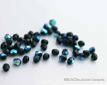 Czech Fire Polished 4mm Jet Black AB Glass Beads x 50 Jewelry Making Supplies (CZB404)