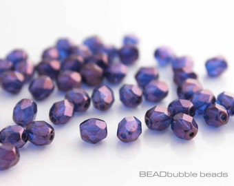 Czech 6mm Fire Polished Glass Beads, Sapphire Blue Violet Lustre x 50 Jewelry Making Beads (CZB620)