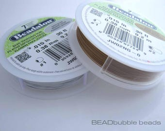 """One Reel 0.38mm (0.015"""") Beadalon Beading Wire, 9 metre (30ft), Satin Silver or Satin Gold, 7 Strand Wire for Jewellery Making"""