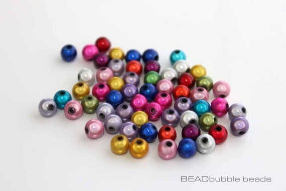 MIXED COLOURS JEWELRY BRACELET NECKLACE MAKING 8mm ACRYLIC ROUND PEARLY BEADS
