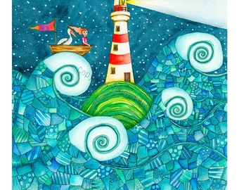 """Limited edition print, """"You are My Beacon"""", by Jenny Laidlaw, lighthouse"""