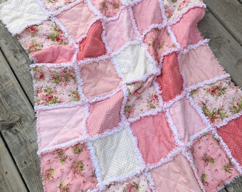 Baby Quilt Blanket Toddler Quilt SALE Pink Zebra Print Patchwork Toddler or Baby Girl Quilt with Pink Black and White