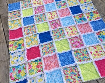 28 X 34  Ready To Ship Lovey Rag Quilt Cottage Chic Blue White Baby Quilt Shabby Style Red Aqua Pink Doll Quilt Security Blanket