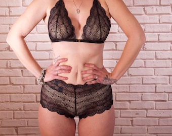 Black Bea High Waisted Scalloped Lace French Knicker