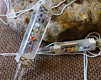 "7 CHAKRA FACETED Crystal Quartz Pendulum Wand Necklace ~ Choose 30"" Necklace or 11"" Pendulum ~ 60% off Sale! +reduced S/H"