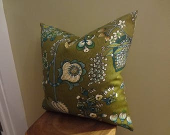 Decorative Pillow Cover Flowers Fruit Pattern Green Beige Teal White Olive Toss Pillow Accent Pillow Throw Pillow