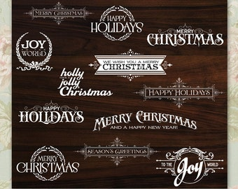 Holiday Photo Overlay Collection - 12 Stamps - INSTANT DOWNLOAD - for photographers, digital scrapbooks DIY holiday christmas cards