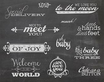 12 Baby Photo Overlays 1 - Newborn Phrases Word Photo Overlay - Text Photo Overlay - Quote Baby Newborn Photo Phrase NSTANT DOWNLOAD