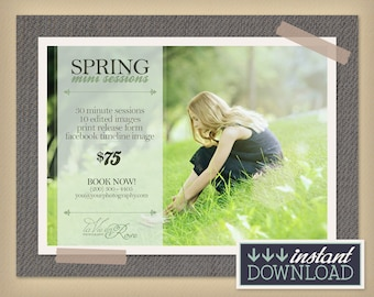 Spring Mini Sessions - Photographer Minisession Marketing - 5x7 Photoshop Template Photography Session - INSTANT DOWNLOAD