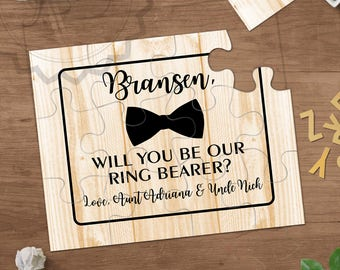 Rustic Will You Be Our Ring Bearer Puzzle Proposal Card Gift Ask Page Boy Card Bow Tie Ring Security Agent Proposal Ringbearer Be Ring Boy