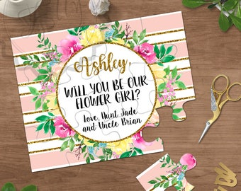 Flower Girl Proposal Puzzle, Blush Pink and Gold Flower Girl Gift, Asking Flower Girls, Will You Be My Flower Girl, Bridesmaid Invitations