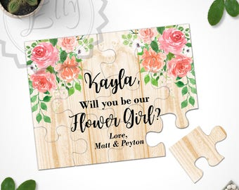 Rustic Will You Be my Flower Girl, Will You Be my Bridesmaid, Asking Bridesmaid Ask Flower Girl Asking Flower Girl Puzzle Proposal Card Gift