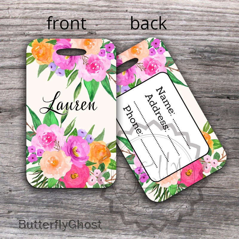 Personalized Bag Tag Get 1 Free Buy 4 Monogrammed Luggage Tag Floral Watercolor Luggage Tag