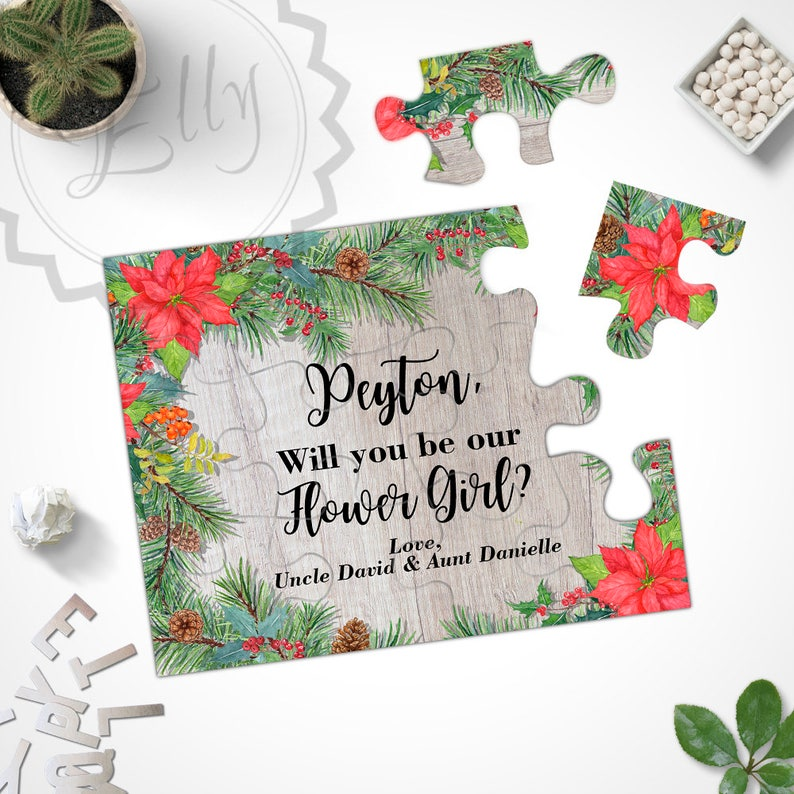 bd557ea9dc0 Rustic Country Christmas Wedding Puzzle Card Invitation Flower Girl Jigsaw  Puzzle Custom Text Invite Xmas Wedding Bridesmaid Invitations