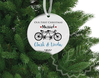 Our First Christmas Tandem Bike Ceramic Ornament, Mr and Mrs  Newlyweds -  Bicycle Personalized Porcelain Ornament, Custom Family Gift - 081