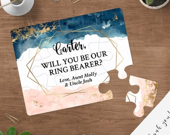 Navy Ring Bearer Proposal - Will You Be Our Ring Bearer Puzzle, Ring Bearer Puzzle Invitation Personalized Ring Bearer Invitation Blush
