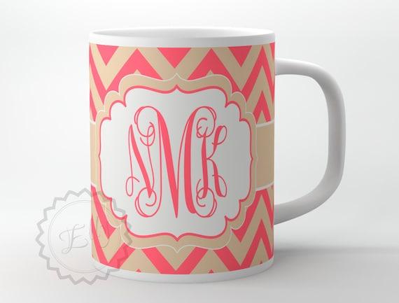 monogramme de tasse caf tasse personnalis e de tan et etsy. Black Bedroom Furniture Sets. Home Design Ideas