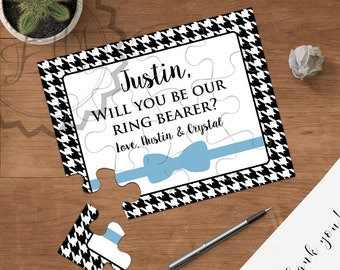 Will You Be Our Ring Bearer, Will You Be My Jr. Groomsmen, Bow Tie Puzzle Ivitation, Personalized Ring Bearer Proposal, Ask Ring Bearer, NEW