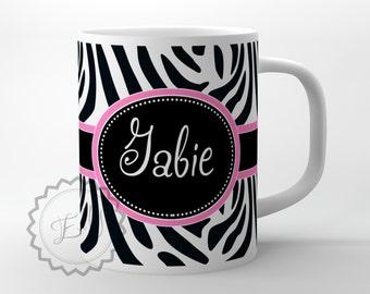 Zebra Customized Coffeecup - Animal engraving personalized coffee mug, design office gift + FREE COASTER - 236