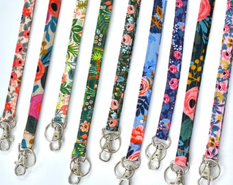 Floral Lanyard, Rifle Paper Co, Optional Breakaway Clasp