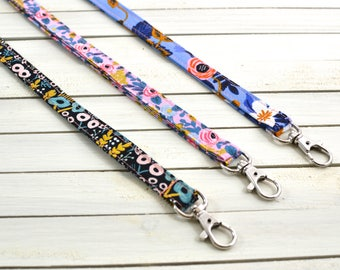 Rifle Paper Co Lanyard/ ID Badge Holder/ Name Tag/ Long Keychain/ Lanyard with Swivel Clip/ Les Fleurs & Menagerie
