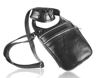 "Revolverbag ""BRUNO"" black real leather holster bag utility urban travel festival bag for men"