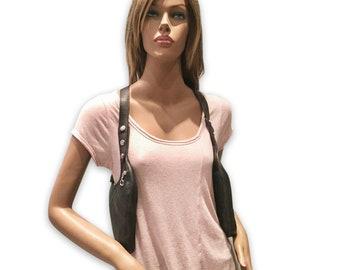 "Revolverbag ""LUCA"" genuine leather double halter bag nappa leather dark brown holster bag holster vest Citybag travel bag"