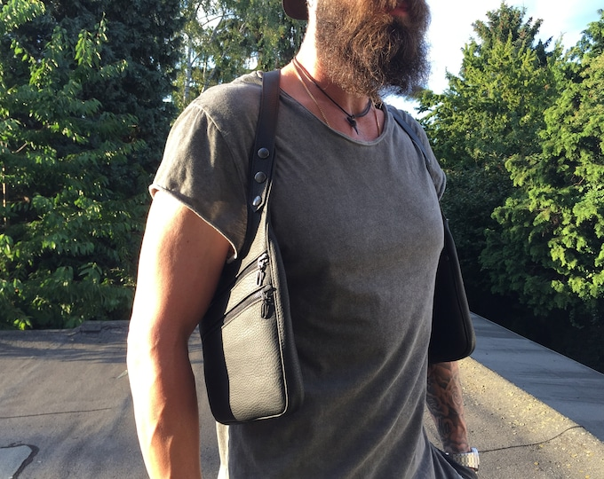 """Featured listing image: Holster vest """"ENZO"""" revolverbag halterbag double holster bag shoulder bag man double sided"""