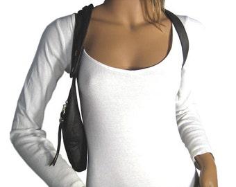 "Holster bag dark grey shoulder holster bag leather halter revolverbag cross body bag ladies purse small handbag ""Tiara"""