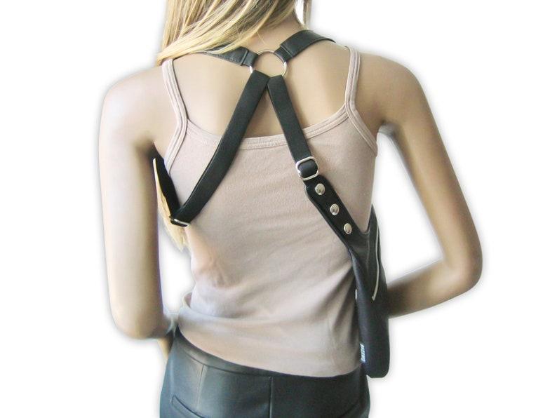 Shoulder holster bag NOVA black leather bag with crossed halter straps festival revolver bag