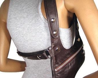 """Shoulder holster bag darkbrown leather bag crossbody bag leather holster bag festivalbag revolverbag """"Tiara"""""""