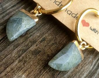 Small golden hoop earrings with Labradorite gemstone half moon pendant. Mystical bohemian spirit, trendy stone jewelry, boho chic horn jewel