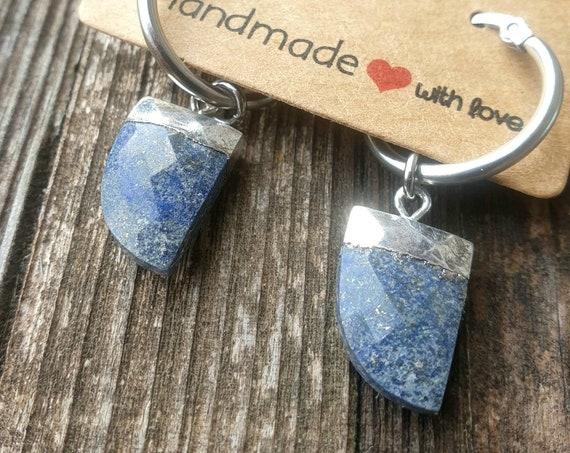 Boucles d'oreilles créoles MOONALÏA Lapis Lazuli.