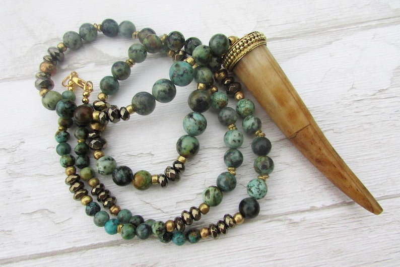 hippy boho African turquoise long necklace Tusk necklace tibetan horn pendant necklace gipsy tribal earthly turquoise gemstone beads