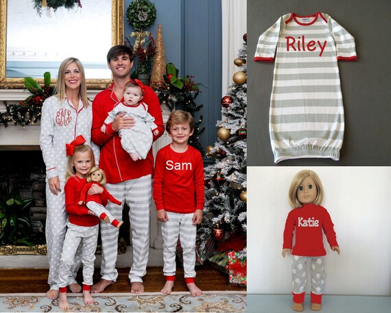 97bc5a5ea7 Personalized Christmas Pajamas Monogrammed Christmas Pajamas