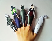 Halloween Finger Puppets, Printable Puppets, Halloween Craft, Halloween Activity, Print Your Own Halloween Decorations