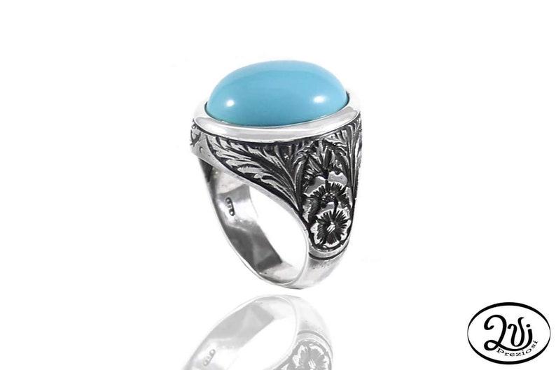 ac97585a6f Anello chevalier ovale pasta turchese anello donna argento | Etsy