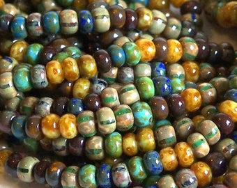 Matted Striped Picasso Mix Round Aged Czech Glass Seed Beads 40 20inch Strand Approx 190-200 Beads
