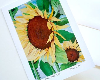 "Sunflower Art Card, Blank Note Cards ""Full Sun"" Lisa Huntington Artist, Floral Art Card"