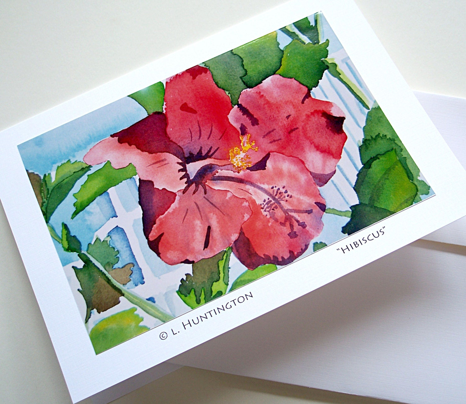 Art Card Hibiscus Blank Note Cards Lisa