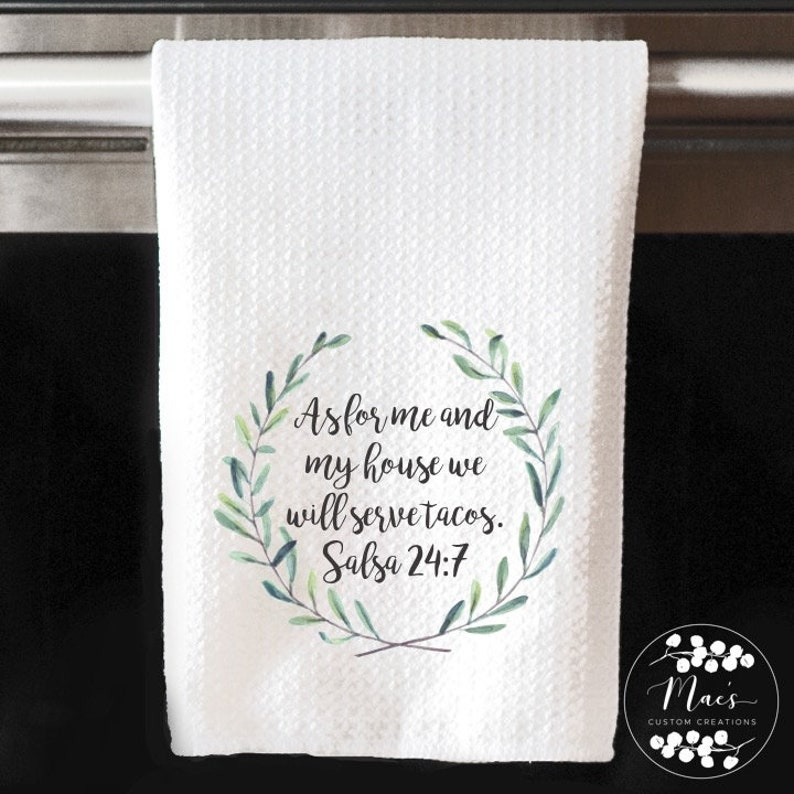 As For Me and My House We will Serve The Lord Kitchen Towel 16x24 Inches Microfiber Wedding Gift