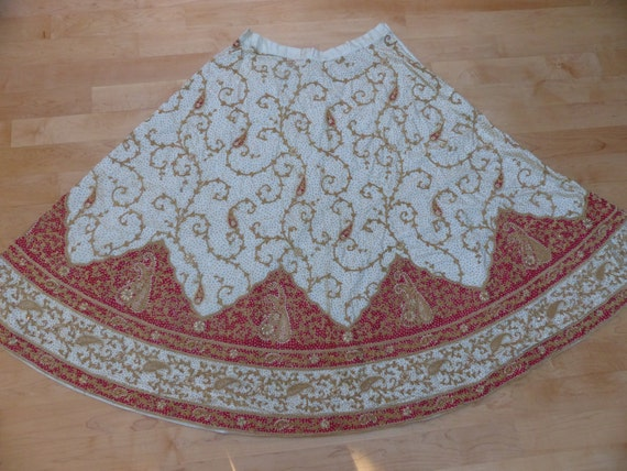 Vintage Heavily Embroidered East Indian Bridal Ski
