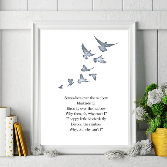 Somewhere Over The Rainbow Blue Birds Fly Wizard Of Oz Movie Etsy